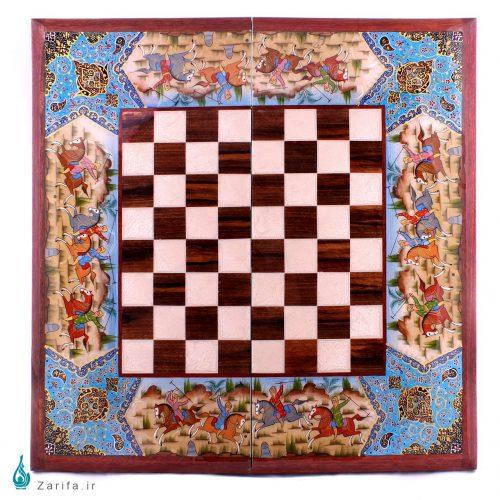 تخته نرد و شطرنج چوب گردو کروبی با نقش شکار و تذهیب آبی