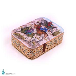 جعبه خاتم با نگارگری منظره شکار